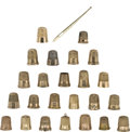 Estate Jewelry:Objects d'Art, Gold, Sterling Silver Thimble Lot with Gold Threader. ...