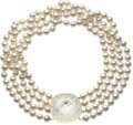 Estate Jewelry:Necklaces, Cultured Pearl, Rock Crystal Quartz, Gold Necklace, David Webb. ...