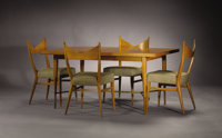 PAUL MCCOBB (American, 1917-1969) A Walnut Dining Table and Set of Four Upholstered Walnut Chairs, 1950s 29 x 6