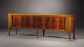 Furniture : Continental, GIO PONTI (Italian, 1891-1979). A Walnut Credenza with Burl Walnut Doors, manufactured by M. Singer & Son, circa 1952. 26-3/...