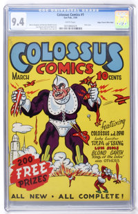 Colossus Comics #1 Mile High pedigree (Sun Publications, 1940) CGC NM 9.4 White pages
