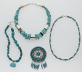 Estate Jewelry:Lots, Southwestern Turquoise, Coral, Silver Necklace Lot. ... (Total: 7Items)