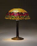 """Decorative Arts, American:Lamps & Lighting, TIFFANY STUDIOS. A """"Poinsettia"""" Leaded Glass and Bronze Table Lamp, circa 1910. Shade stamped: TIFFANY STUDIOS NEW YORK 15... (Total: 2 Items)"""