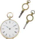 Timepieces:Pocket (pre 1900), Swiss Lady's Gold Keywind with Box, circa 1870. ...