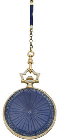 Timepieces:Pendant , Longines Enamel & Gold Pendant Watch and Neck Chain, circa 1915. ...