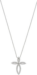 Estate Jewelry:Necklaces, Diamond, White Gold Cross Pendant-Necklace. ...
