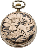 Timepieces:Pocket (post 1900), Longines Doctor's Watch with Niello & Rose Gold Case, circa1905. ...