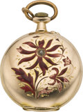 Timepieces:Pocket (post 1900), Swiss Gold & Enamel Lady's Hunters Case, circa 1905. ...