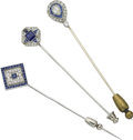 Estate Jewelry:Lots, Art Deco Sapphire, Diamond, Platinum Stickpin Lot. ...