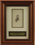 Military & Patriotic:Civil War, Abraham Lincoln Framed Carte de Visite Taken by Mathew Brady. The image is matted, with the visible portion of the ...