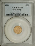Commemorative Gold: , 1916 G$1 McKinley MS65 PCGS. A delightful wheat-colored Gemrepresentative of this McKinley Birthplace Memorial piece, from...