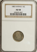Coins of Hawaii: , 1883 10C Hawaii Ten Cents AU58 NGC. Both centers are slate-gray,but the obverse border has golden toning, while the revers...