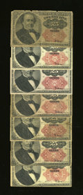Fractional Currency:Fifth Issue, Fr. 1308 25¢ Fifth Issue Two Examples VG; Fine; pencil graffiti.. Fr. 1309 25¢ Fifth Issue Five Examples Good or Better.... (Total: 7)