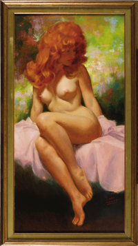 EARL MORAN (American 1893 - 1984) Untitled Oil on board 36 x 18in. Signed lower right