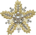 Estate Jewelry:Brooches - Pins, Diamond, Cultured Pearl, Gold Brooch. ...