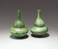 Ceramics & Porcelain, American:Modern  (1900 1949)  , TIFFANY STUDIOS. Two Glazed Favrile Pottery Vases, circa 1910. Oneinscribed on the base: (LCT cipher) 7 / P736 L.C.Tiffan...(Total: 2 Items)