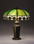 """Lighting:Lamps, HANDEL. A """"Maple Leaf"""" Overlaid Leaded Glass and Bronze Table Lamp, circa 1920. Shade stamped: HANDEL / PAT'D. NO. 979664 ... (Total: 2 Items)"""