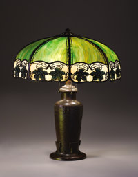 """HANDEL A """"Maple Leaf"""" Overlaid Leaded Glass and Bronze Table Lamp, circa 1920 Shade stamped: HANDEL / PAT'D..."""