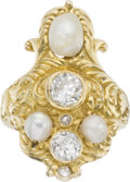 Estate Jewelry:Rings, Victorian Diamond, Pearl, Gold Ring. ...