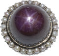 Estate Jewelry:Rings, Star Ruby, Cultured Pearl, Gold Ring. ...