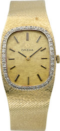 Timepieces:Wristwatch, Omega Men's Diamond Bezel Gold Wristwatch, circa 1970's. ...