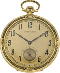 Timepieces:Pocket (post 1900), Ulysse Nardin Enamel & Gold Art Deco Pocket Watch, circa 1925....