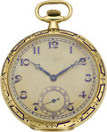 Timepieces:Pocket (post 1900), Jules Jurgensen Enamel & Gold Deco Pocket Watch, circa 1923....