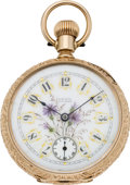 Timepieces:Pocket (pre 1900) , Waltham Fancy Dial Gold Riverside Pocket Watch, circa 1888. ...