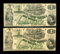 Confederate Notes:1862 Issues, T45 $1 1862 Two Examples PF-1, Cr. 342A.. ... (Total: 2 notes)