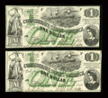 Confederate Notes:1862 Issues, T45 $1 1862 Two Consecutive Examples PF-1, Cr. 342A.. ... (Total: 2notes)