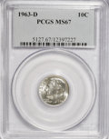 Roosevelt Dimes: , 1963-D 10C MS67 PCGS. PCGS Population (56/0). NGC Census: (137/0).Mintage: 421,476,544. Numismedia Wsl. Price for NGC/PCGS...