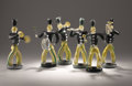Art Glass:Other , VAMSA. A Six-Piece Art Glass Marching Band, executed by AlfredoBarbini, mid 20th century. 12-1/2 inches (31.8 cm) high, flu...(Total: 6 Items)