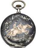 Timepieces:Pocket (post 1900), Swiss Niello and Gold Hunters Case with Equestrian Scene, circa1905. ...