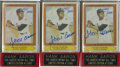 Autographs:Sports Cards, Hank Aaron Signed Cards Group Lot of 3....