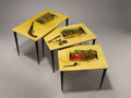 Furniture : Continental, ALDO TURA (Italian). A Set of Three Lacquered Goat Skin and Wood Nesting Tables with Transfer Printed Images, 1950s. 16 x 26... (Total: 3 Items)