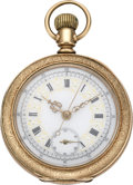 Timepieces:Pocket (post 1900), Swiss Fancy Dial Chronograph, circa 1900. ...