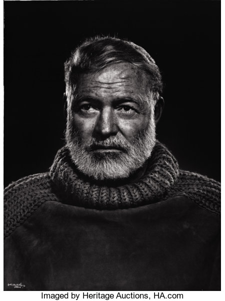 PROPERTY FROM A PRIVATE TEXAS COLLECTIONYOUSUF KARSH (Canadian, 1908-2002)Hemingway, 1954Silver gelatin, 19674...
