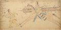 American Indian Art, AN ARAPAHO LEDGER DRAWING. Attributed to Frank Henderson. c.1882...