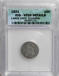 Bust Dimes: , 1821 10C Large Date--Cleaned--ICG. VF20 Details. NGC Census:(3/193). PCGS Population (6/174). Mintage: 1,186,512. Numisme...