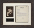 "Autographs:U.S. Presidents, John F. Kennedy Typed Letter Signed ""Jack"" as senator. Onepage, 8"" x 10.5"", July 13, 1957, on United States Senate ..."