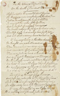 """Autographs:Celebrities, Jonathan Dayton Steele Autograph Poem """"The Death of PresidentHarrison"""", unsigned. Two pages, front and verso, 7.75"""" x 1..."""