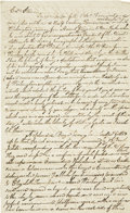 """Autographs:Military Figures, [George Washington] Autograph Letter Regarding George Washington's Inaugurations. Two pages, front and verso, 7.75"""" x 12.75""""..."""