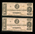 Confederate Notes:1863 Issues, T61 $2 1863 Two Consecutive Examples.. ... (Total: 2 notes)