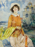 Fine Art - Painting, American:Modern  (1900 1949)  , HOWARD CHANDLER CHRISTY (American, 1872-1952). Portrait of aYoung Woman, 1922. Oil on canvas. Signed and dated lower le...