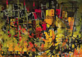 Fine Art - Painting, American:Contemporary   (1950 to present)  , ISRAEL JACK LEVITAN (American, 1912-1982). Untitled (AbstractCityscape), 1957. Oil on canvas. Signed and dated lower ri...