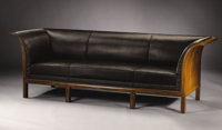 FRITS HENNINGSEN (Danish, 1889-1965) A Cuban Flame Mahogany and Horsehair Upholstered Sofa, manufactured for Frits