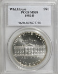 Modern Issues: , 1992-D $1 White House Silver Dollar MS68 PCGS. PCGS Population(97/1241). NGC Census: (70/3945). Mintage: 123,803. Numismed...