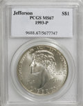 Modern Issues: , 1993-P $1 Jefferson Silver Dollar MS67 PCGS. PCGS Population(39/2906). NGC Census: (9/1573). Mintage: 266,927. Numismedia ...