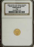 California Gold Charms: , 1883 Cal Gold Charm MS65 NGC. Round, 0.25 gm. The obverse depicts a miner at work with pickaxe, set inside a circle surround...