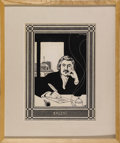 Illustration:Books, CARL STEPHEN JUNGE (American 1880 - 1972) . Balzac . Ink on paper . 17 x 13in. . Signed upper right . PROVENANCE: . Fr...